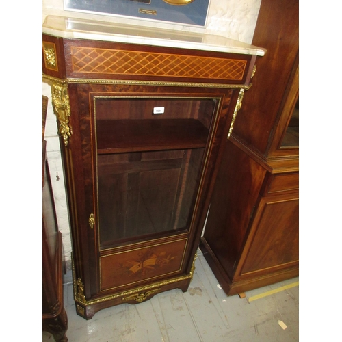 1591 - 19th Century French mahogany marquetry and parquetry inlaid ormolu mounted display cabinet the fleck...