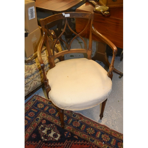 1592 - Pair of Hepplewhite mahogany black line inlaid open elbow chairs with crossover backs above upholste...