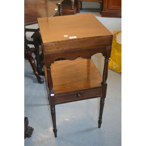 1598 - 19th Century mahogany washstand with a square top, single drawer and turned supports...