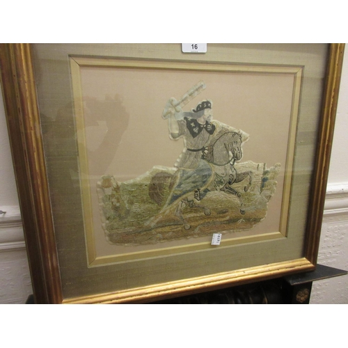 16 - 19th Century silkwork fragment of a soldier on horseback holding sword aloft, gilt framed, 10ins x 1...
