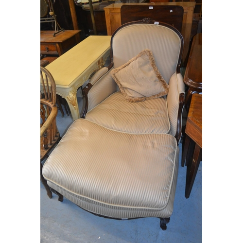 1604 - Good quality reproduction French style drawing room armchair upholstered in a beige stripe fabric to...