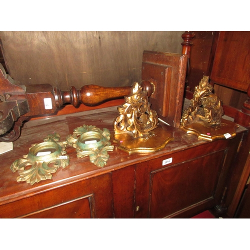 1607 - Pair of small carved giltwood wall brackets and a pair of similar miniature wall mirrors...
