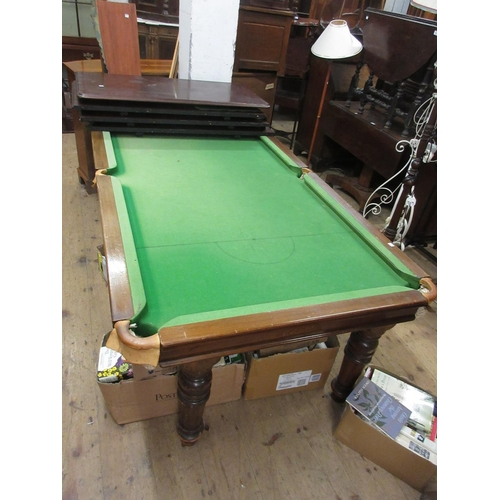 1611 - Early 20th Century mahogany quarter size snooker dining table by Riley, the removable four piece top...