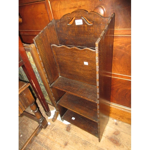 1612 - Small early 20th Century oak magazine rack / bookcase, shaped top occasional table and a similar sma...