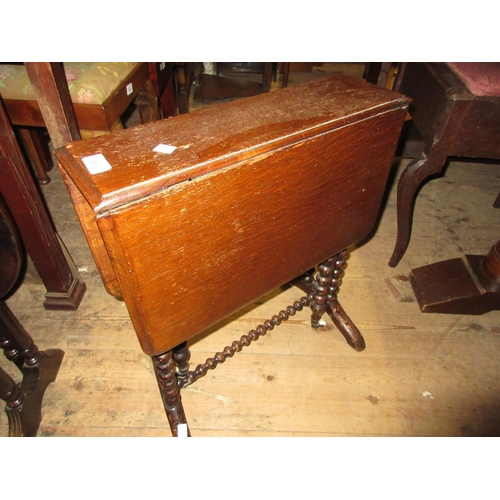 1613 - Small mahogany drop-leaf Sutherland table, a reproduction leather inset occasional table, another sm...