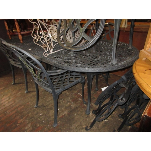 1615 - Modern painted alloy garden table, together with a set of eight matching elbow chairs and a parasol...