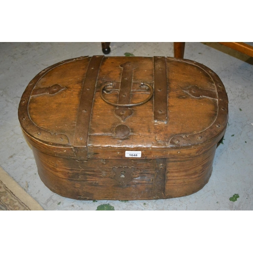 1648 - Antique oval steel banded pine trunk...