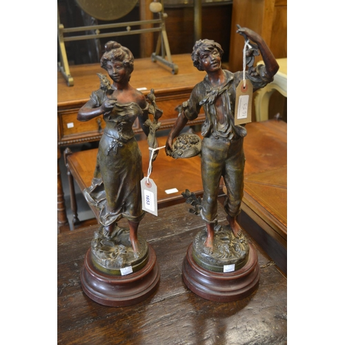 1653 - Pair of 19th Century French patinated spelter figures of lady and gentleman after Rousseau...