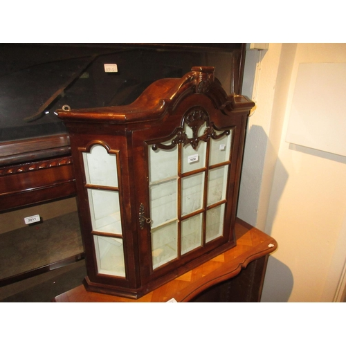 1658 - Small mahogany wall cabinet having central bar glazed door enclosing shelved interior, 26ins high, 2...