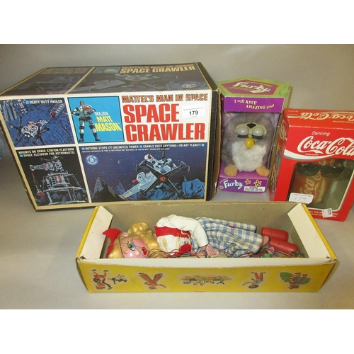 179 - Mattel boxed Space Crawler together with a boxed Furby, boxed Pelham puppet and a boxed dancing Coca...
