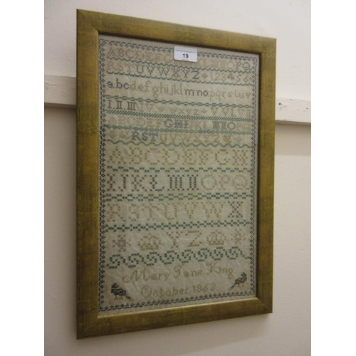 19 - 19th Century alphabet sampler by Mary Jane King, October 1962...