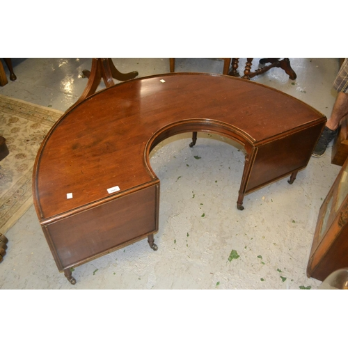 1911 - Early 20th Century mahogany half round drop leaf occasional table in the form of a hunt table raised...