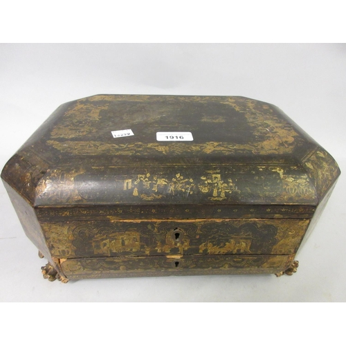1916 - 19th Century Chinese lacquered octagonal workbox (for restoration)...