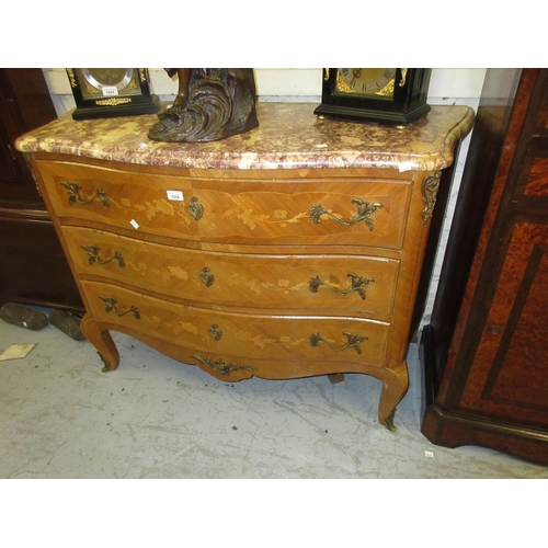 1928 - Early 20th Century French Kingwood floral marquetry inlaid commode with a rouge marble top above thr...