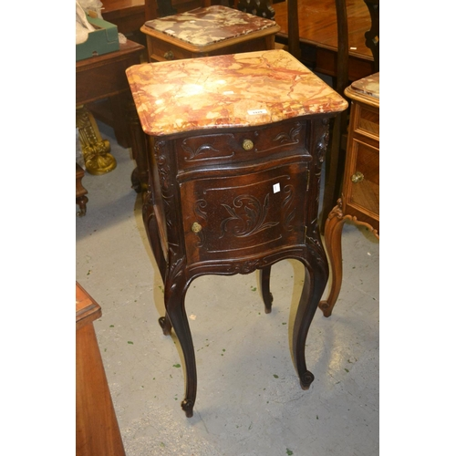 1929 - 19th Century French rosewood marble top bedside cabinet with single drawer above carved door, raised...