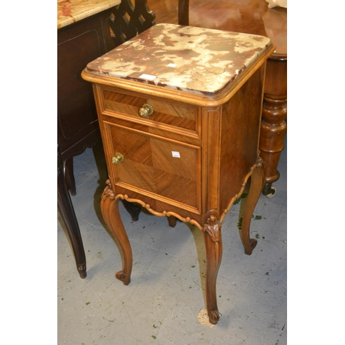 1931 - Pair of 19th Century French walnut marble top bedside cabinets with single drawer above panel door, ...