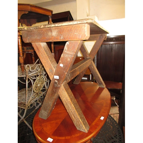 1940 - 19th Century rectangular pine side table on crossover supports...