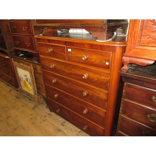 1945 - Victorian mahogany two part chest of two short and four long drawers with knob handles...