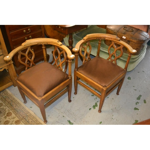 1951 - Pair of 20th Century corner chairs with pierced splat backs raised on turned supports with stretcher...