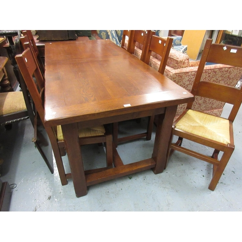 1954 - Reproduction French solid oak dining room suite comprising ; rectangular draw leaf table with two ex...