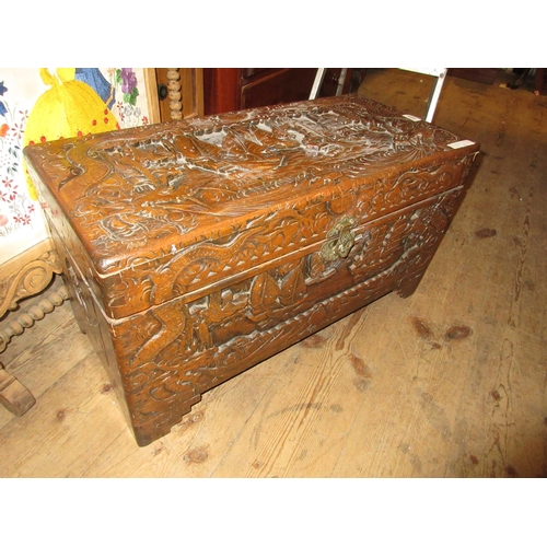 1955 - Chinese carved hardwood trunk, 16ins high x 29ins wide...