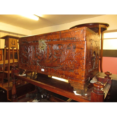 1956 - 20th Century carved Chinese trunk, 19ins high x 35ins wide...