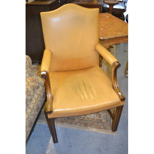 1959 - 20th Century mahogany leather upholstered Gainsborough type open elbow chair raised on square moulde...