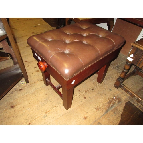 1960 - Leather upholstered mahogany rectangular adjustable piano stool together with a 19th Century mahogan...