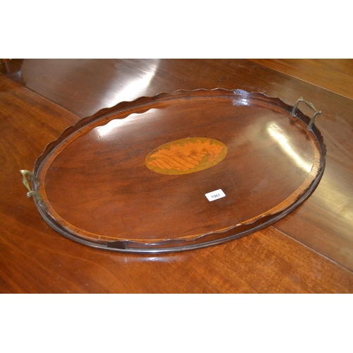 1961 - 19th Century oval mahogany shell inlaid and rosewood crossbanded two handled tray...