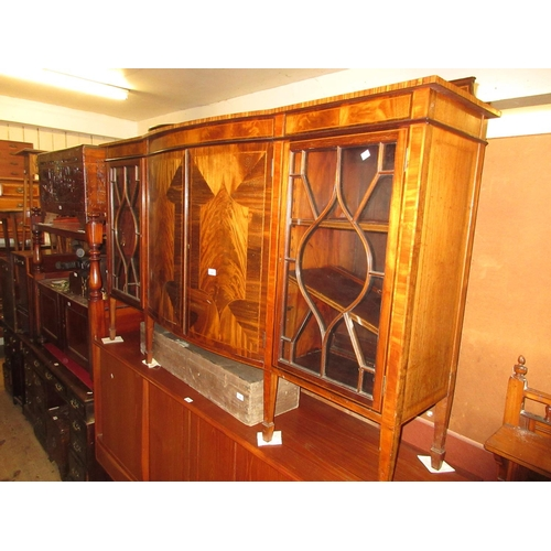 1965 - Edwardian mahogany and line inlaid semi bow fronted side cabinet with a low back above a pair of bow...