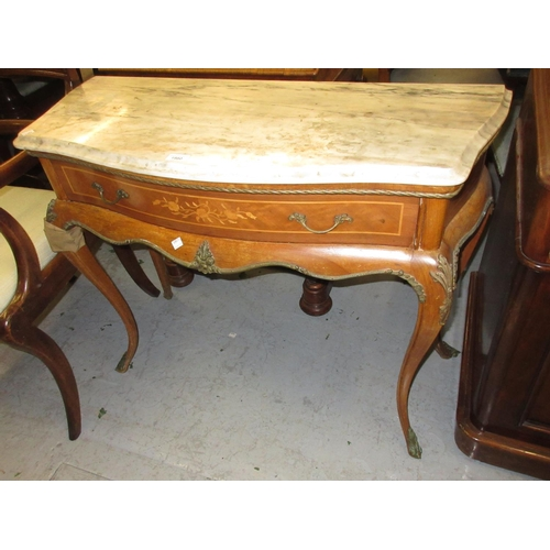 1980 - Reproduction French marble top side table with a single marquetry inlaid drawer , raised on ormolu m...
