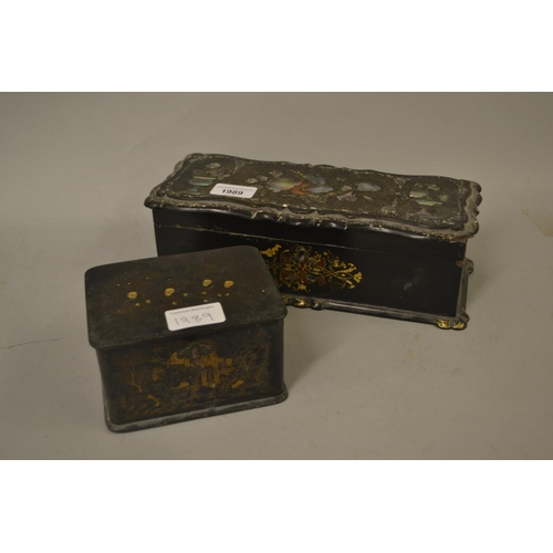 1989 - 19th Century mother of pearl inlaid lacquer glove box together with a small chinoiserie lacquered te...