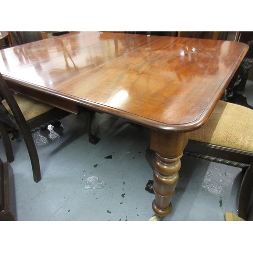 1995 - Victorian mahogany pull-out extending dining table, the moulded top above a moulded frieze raised on...