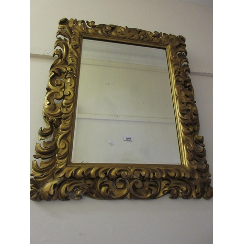 2000 - 19th Century Florentine type carved and gilded rectangular wall mirror with bevelled plate, 35ins x ...