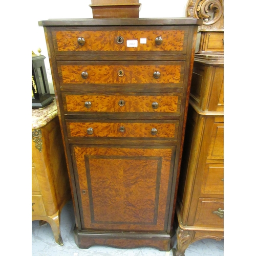 2002 - 19th Century Continental amboyna and rosewood narrow side cabinet, the moulded top above four drawer...