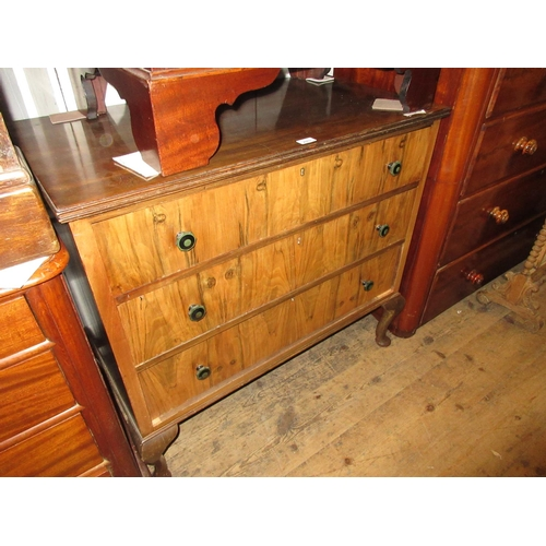 2003 - Mid 20th Century walnut three drawer chest with cabriole supports, 36ins wide...