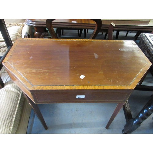 2004 - Regency mahogany satinwood crossbanded and line inlaid fold-over card table on square tapering suppo...