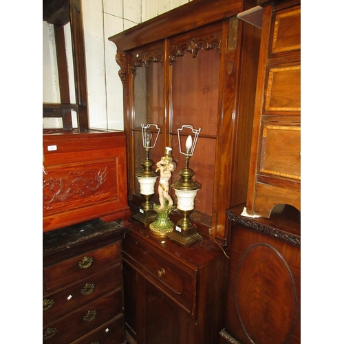 2006 - Victorian mahogany secretaire bookcase, the moulded cornice above two glazed doors, the base with a ...