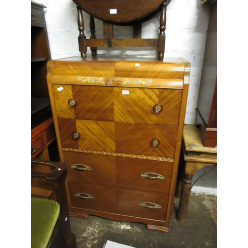 2009 - Mid 20th Century chest of four drawers on shaped supports, together with a 20th Century mahogany bur...