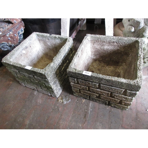 2012 - Pair of cast concrete square simulated brick garden planters...