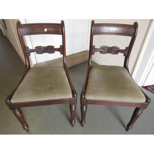 2019 - Pair of Regency mahogany rail back side chairs with drop-in seats on turned front supports...