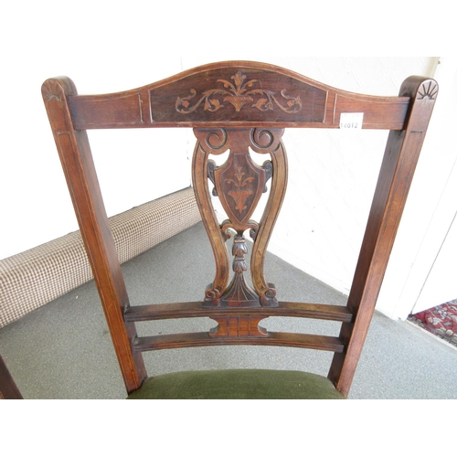 2020 - Set of four Edwardian mahogany marquetry inlaid side chairs...