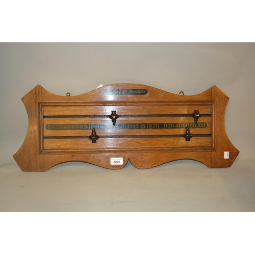 2025 - E.J. Riley, oak wall mounted snooker scoreboard...