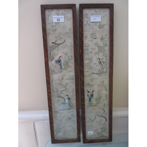 22 - Pair of oak framed Chinese silk embroidered sleeve panels together with a rectangular hardwood tray ...