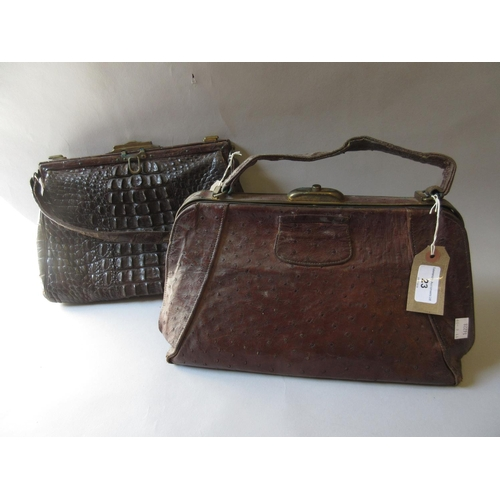 23 - Early 20th Century ostrich skin handbag, together with another skin handbag...