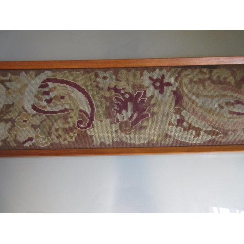 25 - Framed gold thread work fringe panel, together with a framed woolwork panel...
