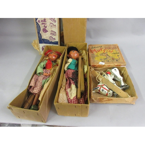 296 - Two early boxed Pelham puppets and a small Muffin junior metal puppet in original box by Moko...
