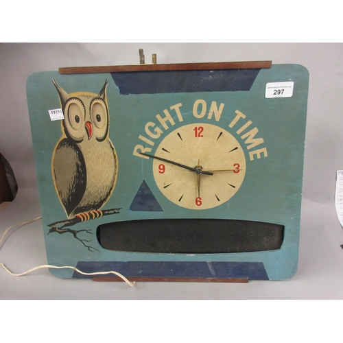 297 - 1950's Wooden cased novelty clock inscribed ' Right on Time ', with a painted figure of an owl, 15in...