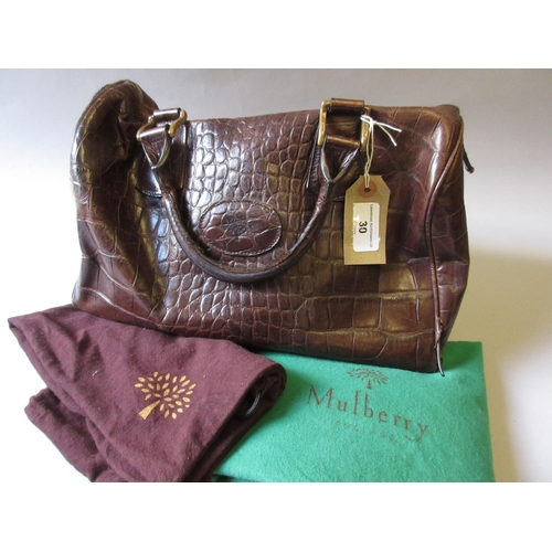 30 - Mulberry brown Congo leather bowling style bag (at fault), with original dust bag and another Mulber...