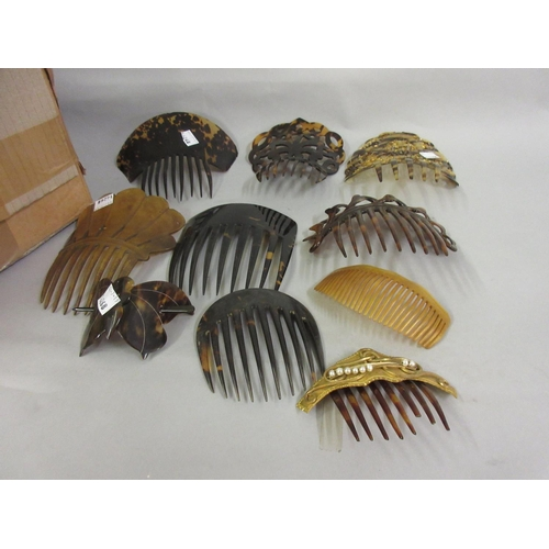 325 - Four various tortoiseshell haircombs together with a quantity of other haircombs...